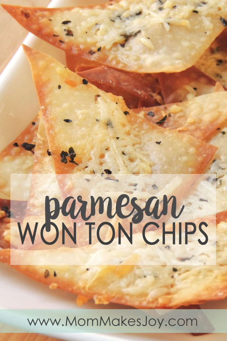 These Parmesan wonton chips are a great quick snack made with wonton wrappers, extra virgin olive oil, basil or rosemary, garlic, and parmesan cheese. | Easy Appetizers | Baked snack | Warm snack | Healthy snack | Mom Makes Joy