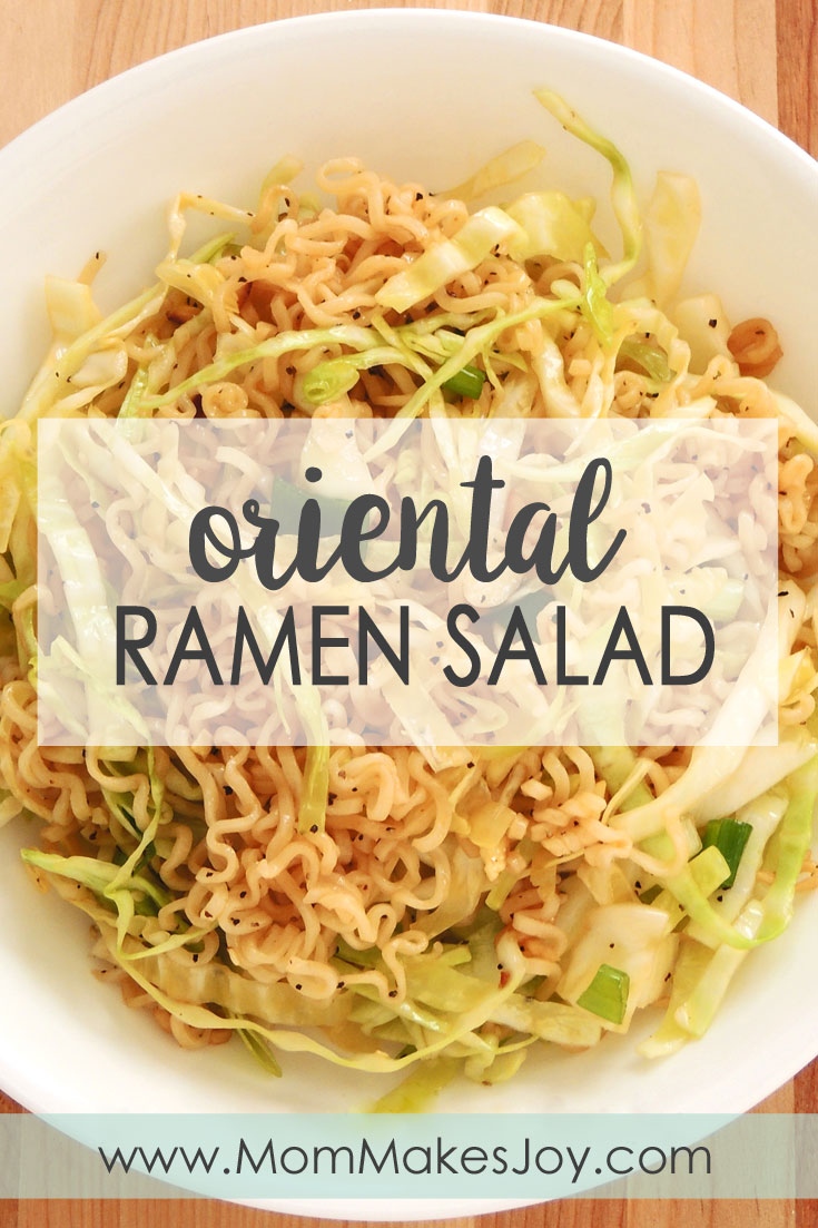 This ramen noodle cabbage salad recipe is made with chopped cabbage, ramen noodles, slivered almonds, sesame seeds, green onions, and a sweet, hot dressing. | Oriental Salad | Ramen noodle salad | Cabbage salad | Mom Makes Joy