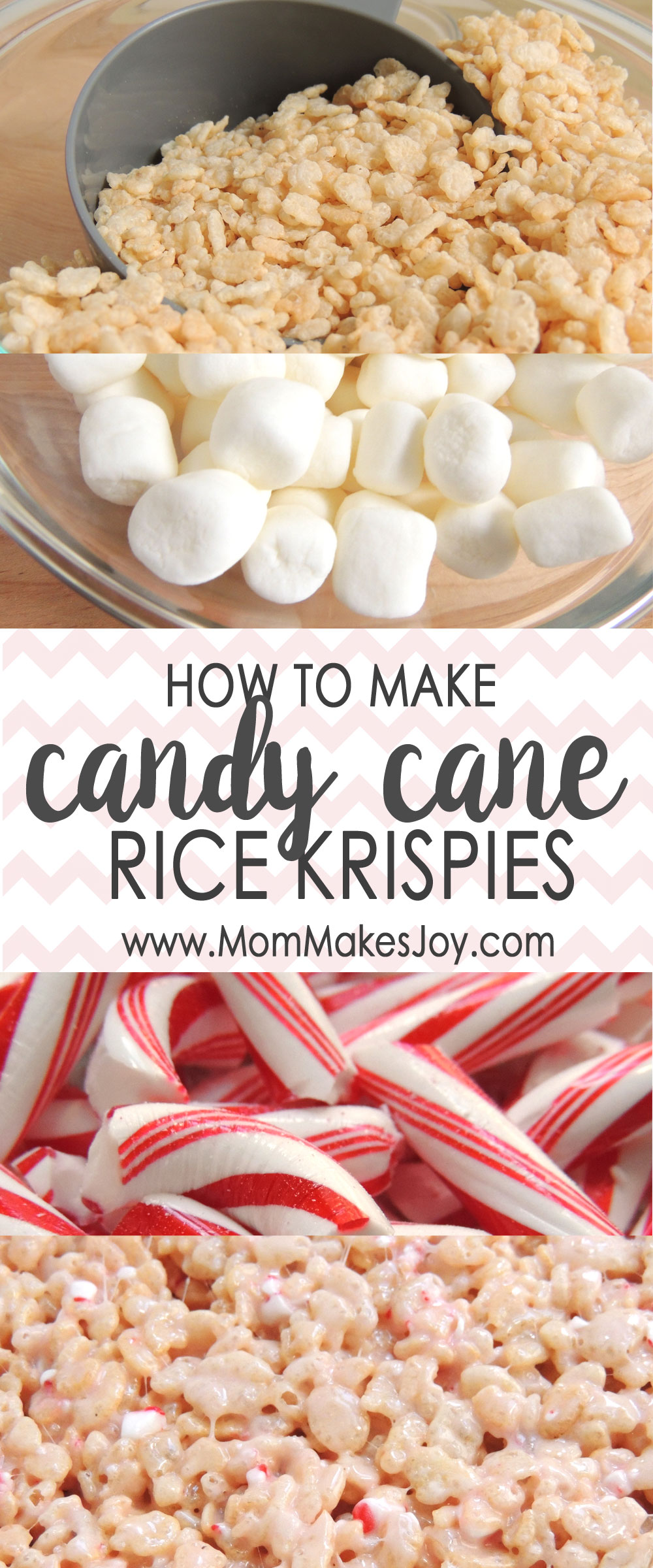 This recipe for Candy Cane Rice Krispie Treats is the perfect holiday snack! With just five ingredients, these treats will be ready to please in no time. | Holiday Recipes | Holiday Desserts | Christmas Treats | Peppermint | Mom Makes Joy
