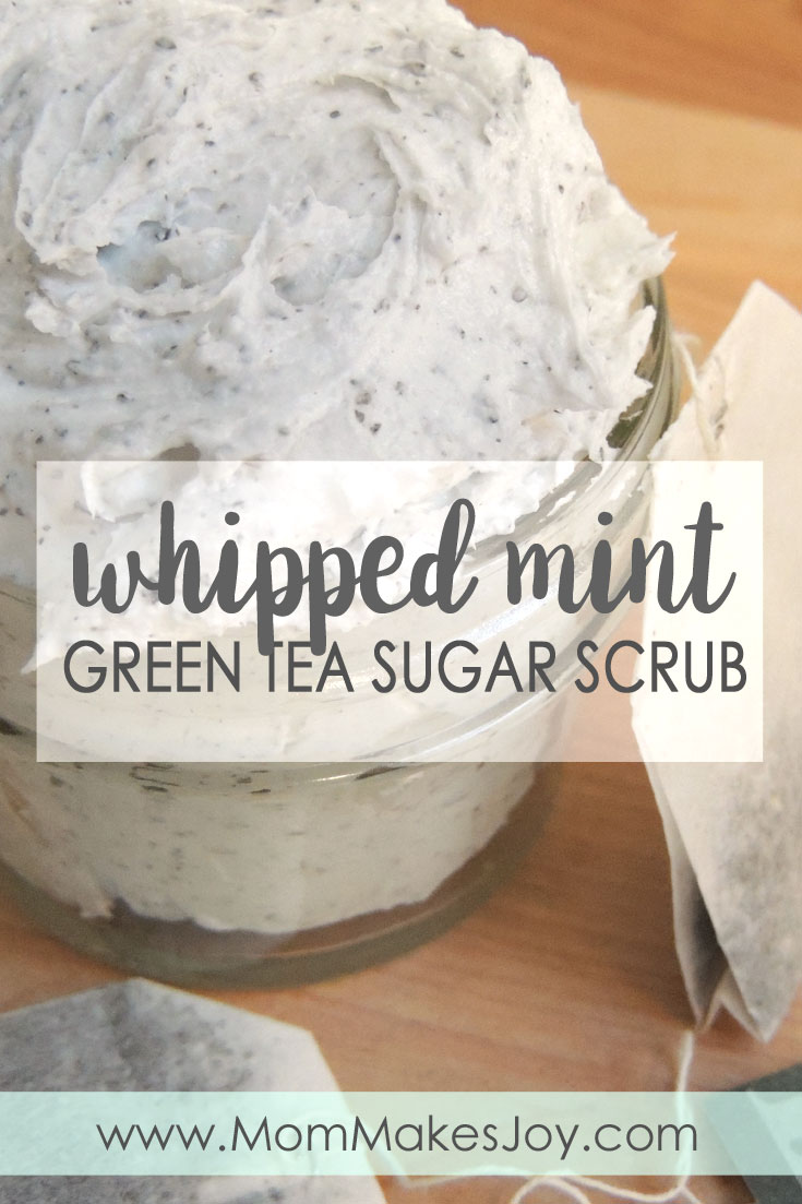 Make your own perfectly whipped mint green tea sugar scrub in three easy steps! To use, scoop out a small handful, rub it on, then rinse! | Whipped sugar scrub | DIY Bath and Body | Mom Makes Joy