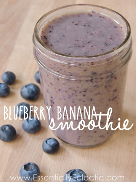 No Sugar Added Blueberry Banana Smoothie | www.Essentially Eclectic.com | This blueberry banana workout recovery smoothie is the perfect way to refuel after a great workout. It's full of antioxidants and potassium and is good enough to drink just because!