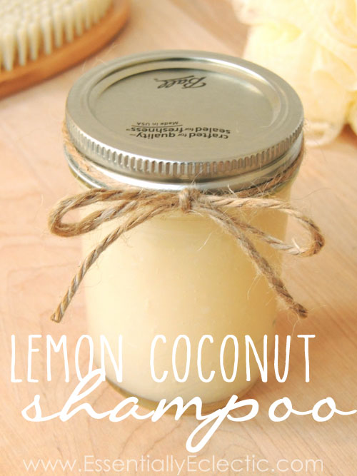 DIY Organic Lemon Coconut Shampoo   www.EssentiallyEclectic.com   Learn to make your own DIY organic shampoo in minutes with this easy tutorial. Inexpensive and great for your hair, this lemon coconut organic shampoo will be your new favorite!