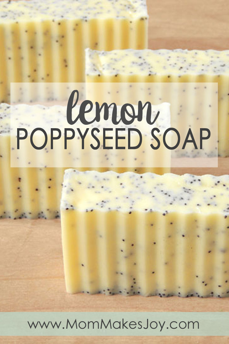 These lush lemon poppy seed soap bars are made with cocoa, shea & mango butters! Check out how to make them yourself with this easy tutorial. | DIY Bath and Body | How to make soap without lye | Soap Making | Mom Makes Joy