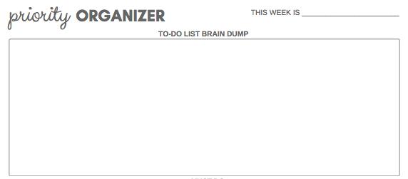 free printable priority organizer brain dump