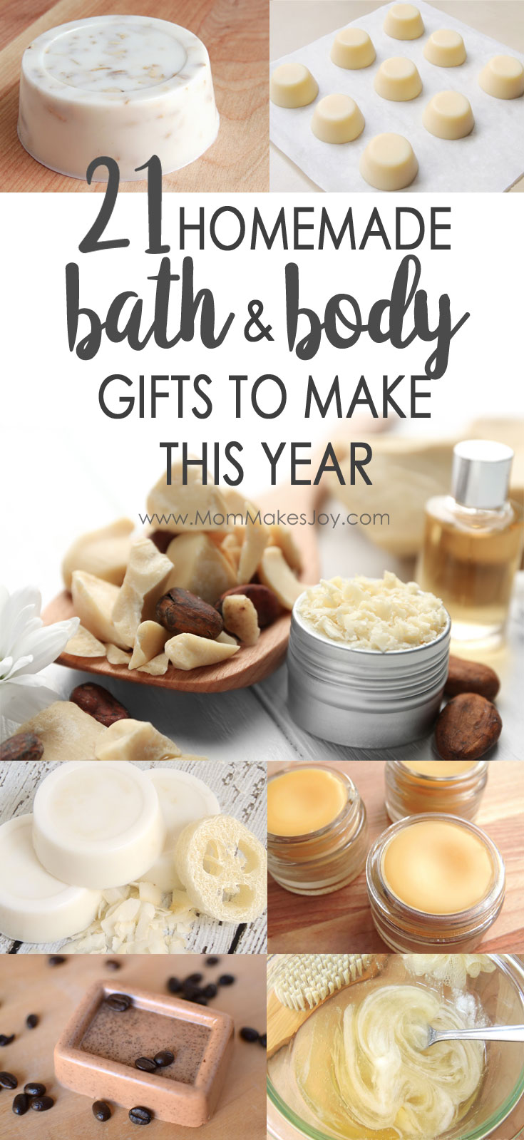 Looking for the perfect gift for a loved one, acquaintance, neighbor, or coworker? These 21 DIY bath and body gifts are easy to make and will not disappoint! | Gift Ideas | Holiday gift ideas | Bridal shower favors | Baby shower favors