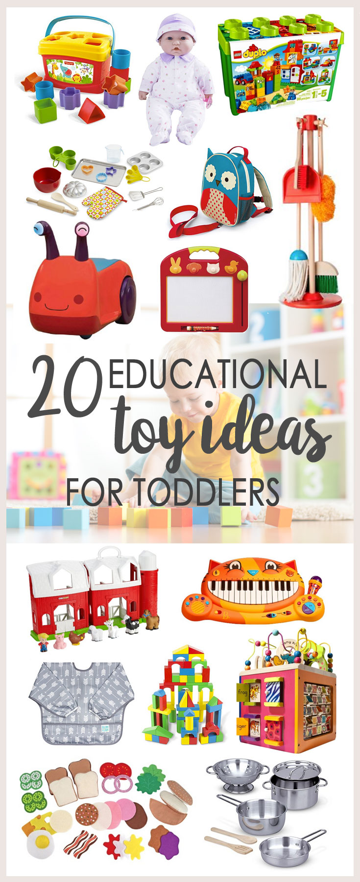 "Not all toys labeled ""educational"" actually are! These 20 educational toys for toddlers (1 to 2-year-olds) have tons of replay value and won't disappoint! 