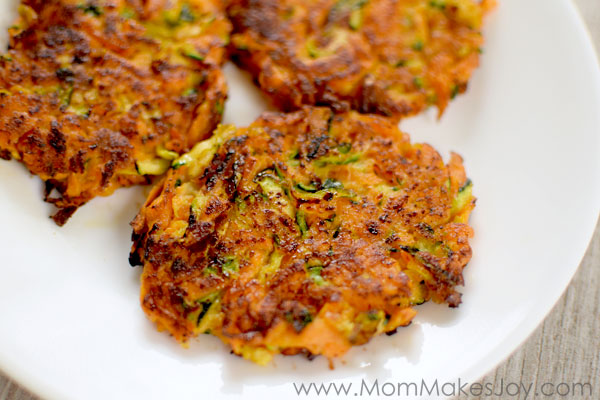 Veggie fritters made with zucchini and sweet potato are a great way to sneak veggies into a picky eater.