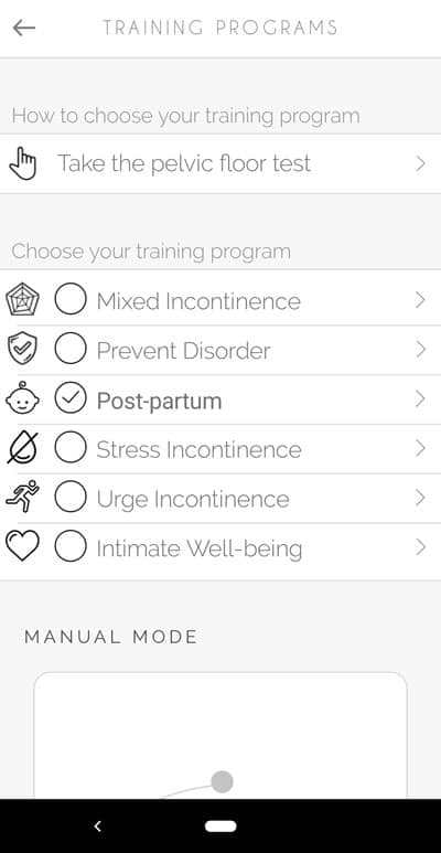 Perifit - Choose your program: Mixed incontinence, prevent disorder, postpartum, stress incontinence, urge incontinence, and intimate well-being.