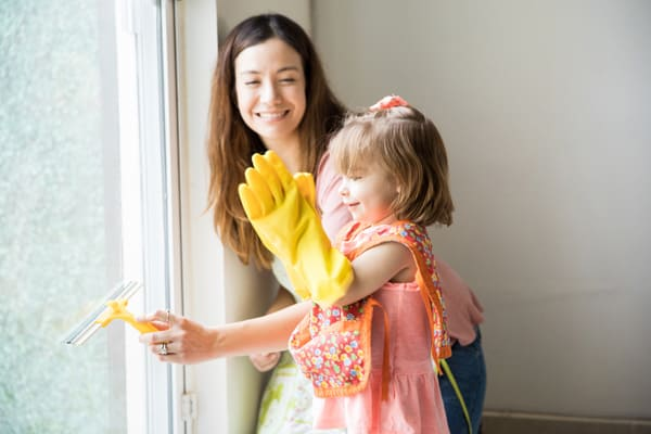Let your children help--or at least think they're helping! Just one strategy to keep the house clean with small kids.