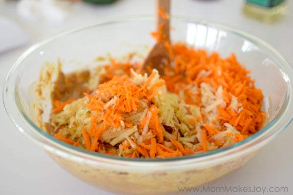 fold in grated apples and carrots